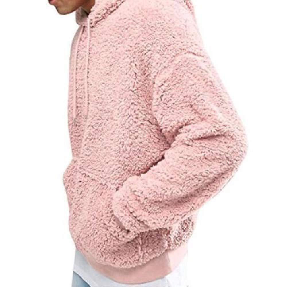 GETHIS Mens Hoodies Warm Fluffy Fleece Sherpa Sweatshirt Casual Winter Fleece Hoodie Pullover Coat Tops