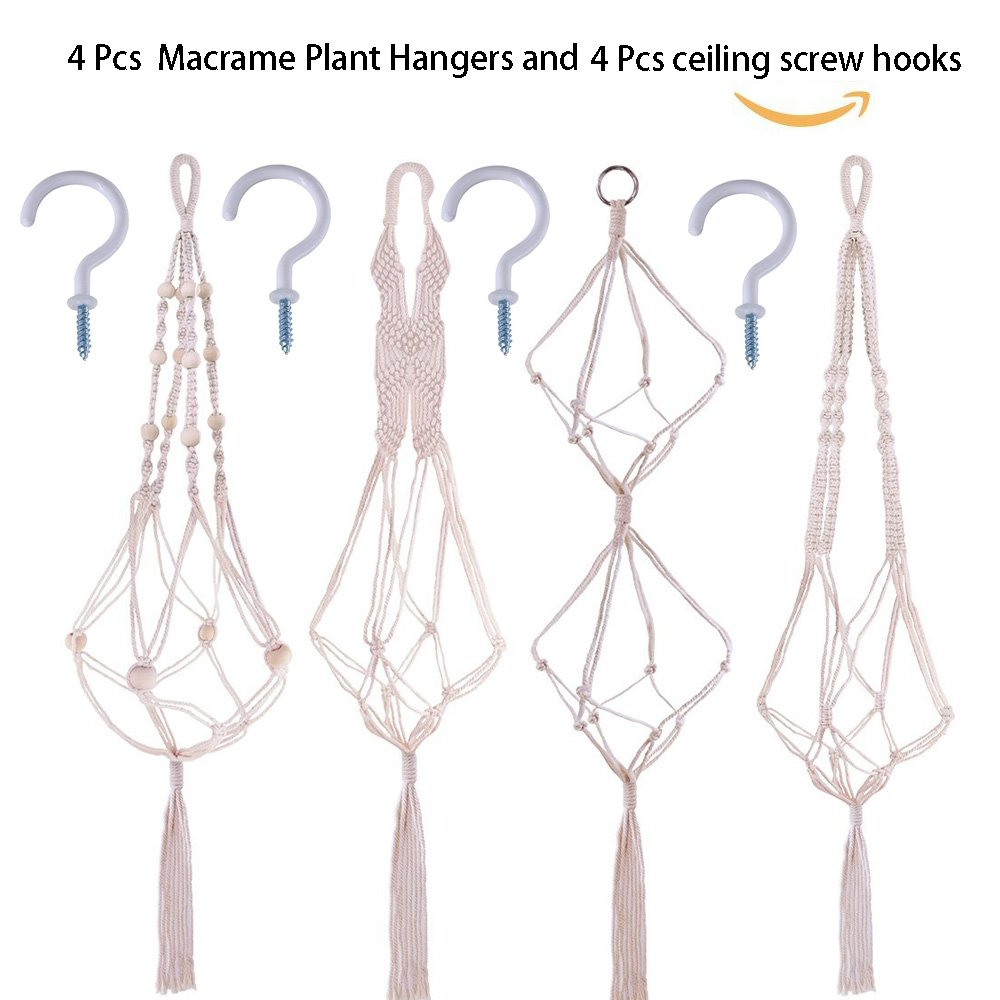 Supla 4 Pcs Macrame Plant HangersMacrame Pot Hanger 39.4'' 39.4'' 37'' and 35.4'' with 4 Ceiling Screw Hooks Macrame Plant Holder Pot Hanger Plant Holder Cotton Hanging Planter by Supla