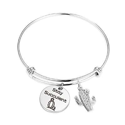 TOGON Gardener Gifts Cactus Bracelet Stay Succulent Gifts for Women Teen Girls Cacti Plant Lover Jewery Succulent Tropical Plant Jewelry (Stay Succulent BR): Jewelry