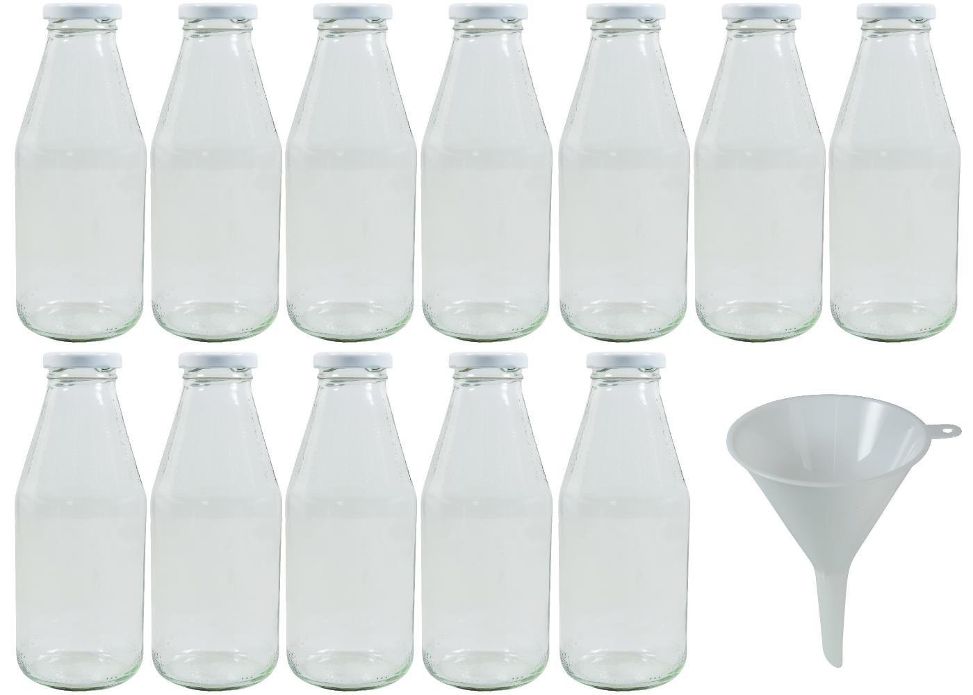 mikken 20 Mini Bottiglie di Vetro 20 ML con Tappo a Vite con Imbuto