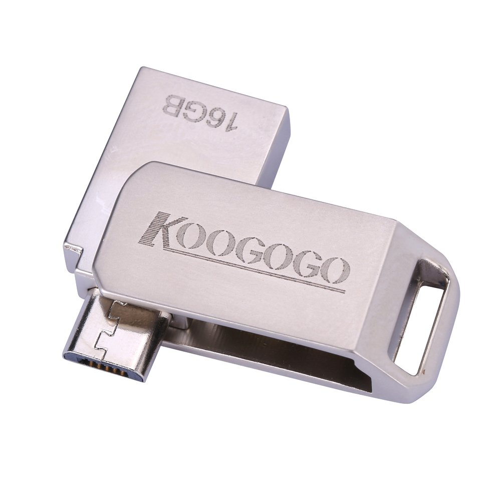 KOOGOGO 2-in-1 USB OTG Android Flash Drive Metal Key Swivel Dual USB (USB Type A + Micro USB) for Smart Phones, Tablets and Computers (16GB)