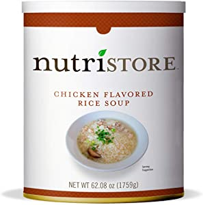 Nutristore Chicken Flavored Rice Soup #10 Can   Premium Variety Ready to Eat Meals   Bulk Emergency Food Supply   Breakfast, Lunch, Dinner   MRE   Long Term Survival Storage   25 Year Shelf