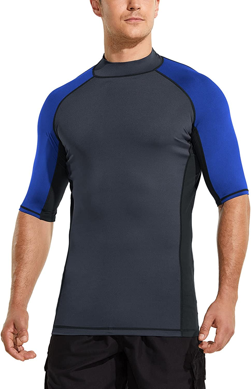 TSLA Men's Rash Guard Swim Shirts, UPF 50+ Quick Dry Mid/Short Sleeve Swimming Shirt, UV/SPF Water Surf Shirts: Sports & Outdoors