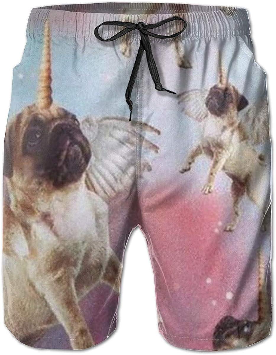 YILISA Pug Unicorn Mens Beach Shorts Trunks Quick Dry Summer with Mesh Lining Pockets