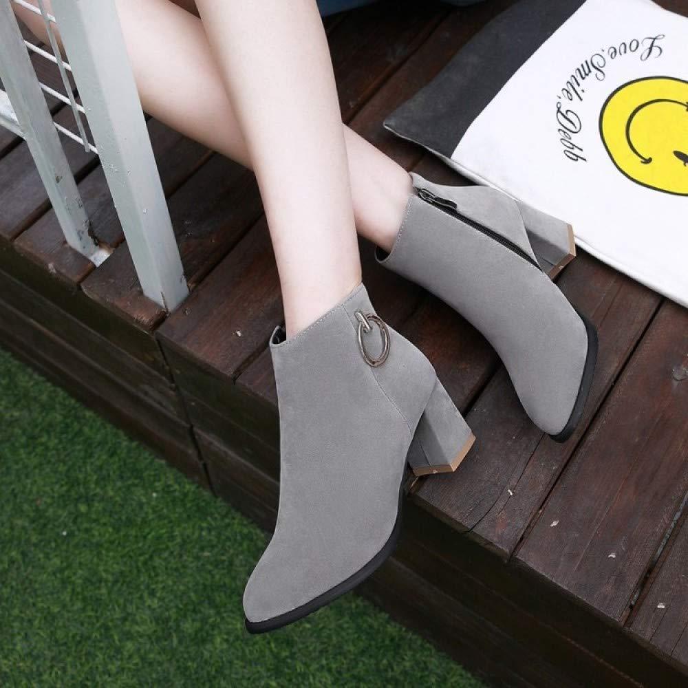 MYXUA Herbst Winter Plus Hochhackige Mode Plus Winter Größe Stiefel Gray d40a5c