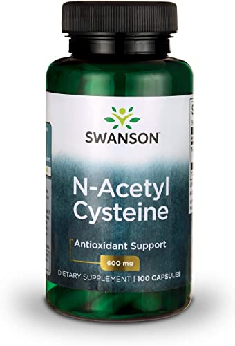 Swanson NAC N-Acetyl Cysteine Antioxidant Anti-Aging Liver Support Amino Acids Supplement 600 mg 100 Capsules