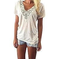 Damen T-Shirt Forh Frauen Sommer Weste Top Sexy V-Ausschnitt Spitzebluse Casual Kurzarm Bluse Tunika Mode Tank Tops T-Shirt Oberteil Große Größe
