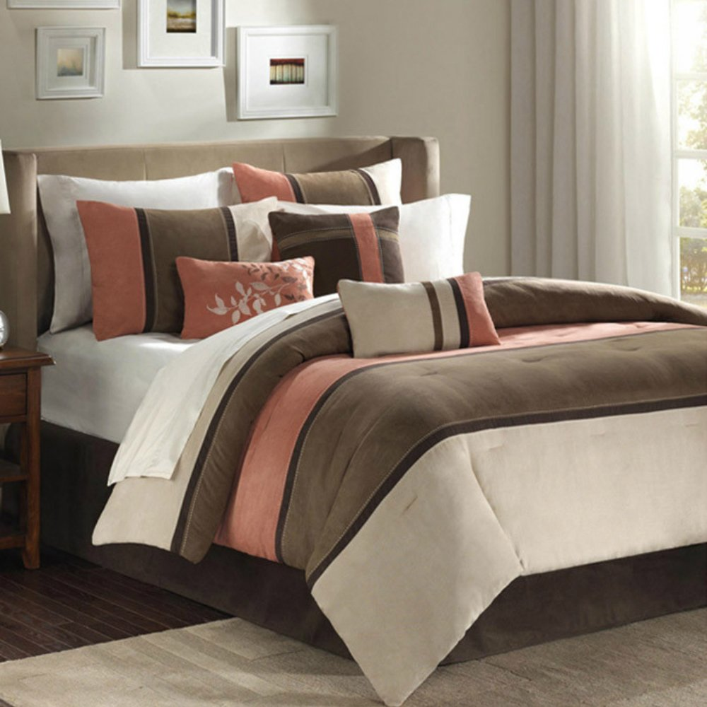 Luxury Bedding & Comforter Set in Stripes - 7 Piece, Khaki Brown & Peach Coral, California King