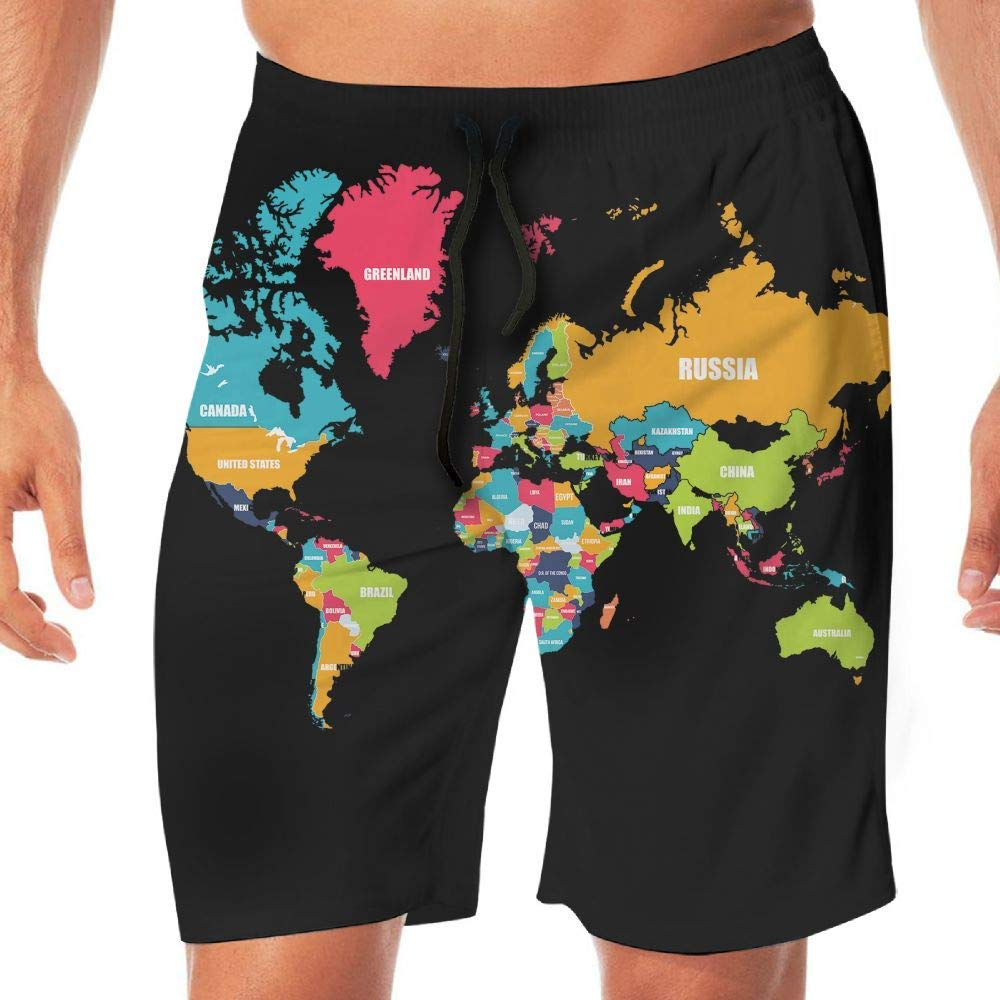 Mens Workout Shorts World Map Summer Vacation Beach Boardshort Adults Boys
