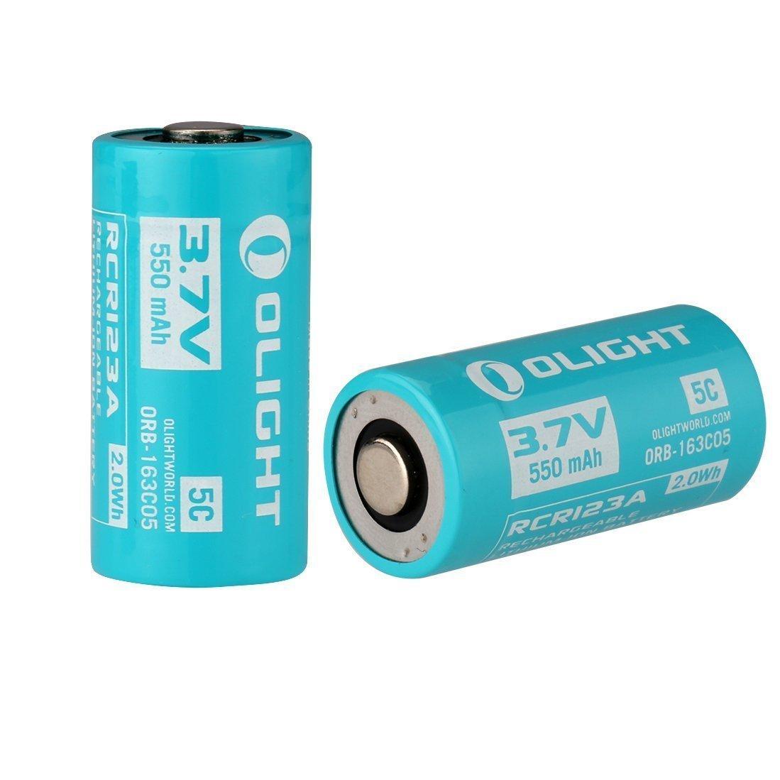 Olight® 16340 RCR123A 550mAh batería 5C de iones de litio , recargable y protegida - 2-pack (original y personalizado para S1R Baton linterna)