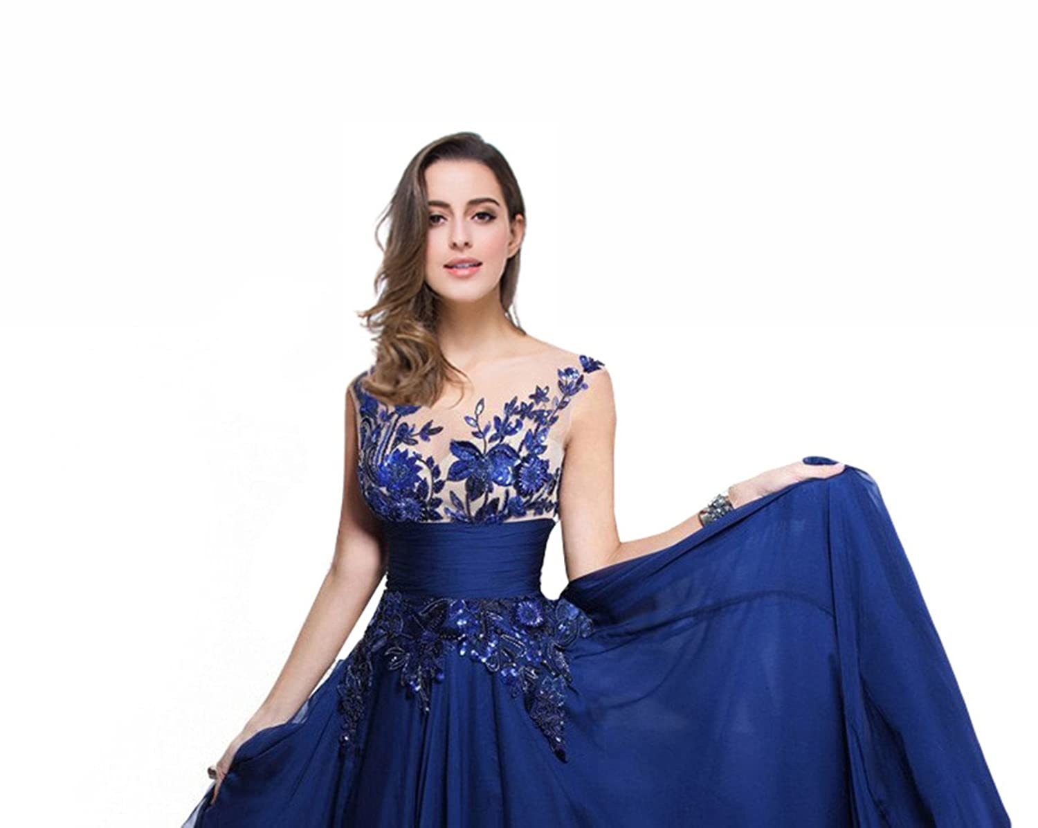 Amazon.com: Babyonline Lace Long Prom Dresses 2015 Chiffon Formal Evening Gown ZS-CPS011: Clothing