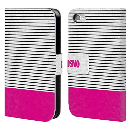 Official Cosmopolitan Pink 1 Stripes Collection Leather Book Wallet Case Cover For Apple iPhone 4 / 4S