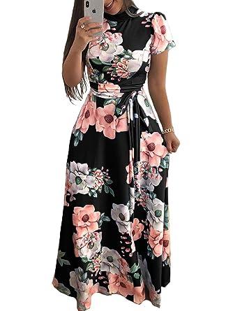 fdb6c94582736 ONine Women s Floral Printed Maxi Dress Short Sleeve Casual Swing Long Maxi  Dress with Belt
