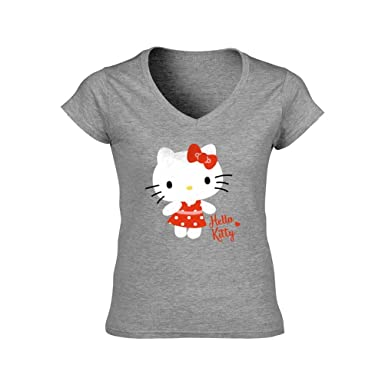 09d9ed0a45 Image Unavailable. Image not available for. Colour: Hello Kitty Official  Sanrio Women's Polka Dot Fitted Top T-Shirt ...
