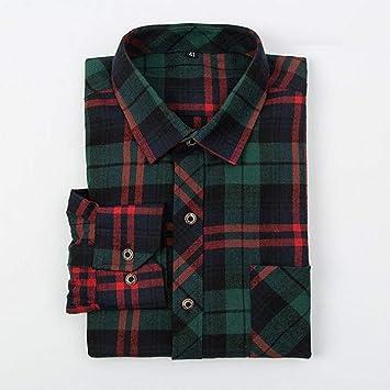 YAYLMKNA Camisa Camisa De Tela Escocesa para Hombre Camisa De ...