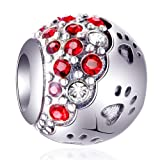 EMOSTAR Dog Paw Print Charms with Multicolor Red