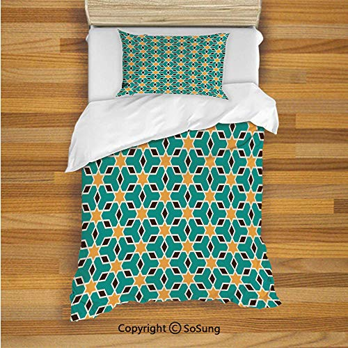 - Arabian Kids Duvet Cover Set Twin Size, Arabic Oriental Geometric Shapes Lines with Pastel Middle East Art Persian 2 Piece Bedding Set with 1 Pillow Sham,Teal Yellow Brown