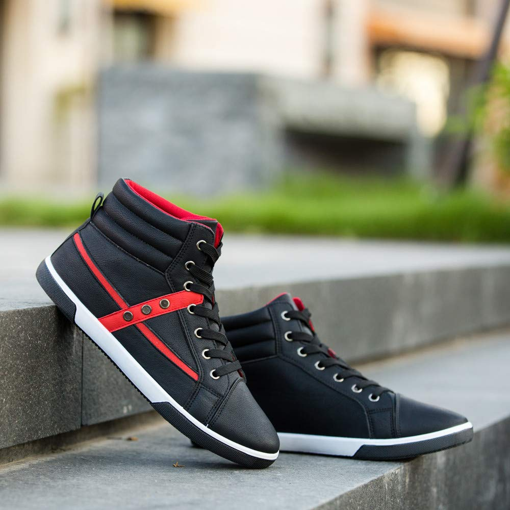 Respctful ◉High Top Sneakers for Men Canvas High Top Sneaker Casual Lace Up High Top Fashion Sneakers Walking Shoes