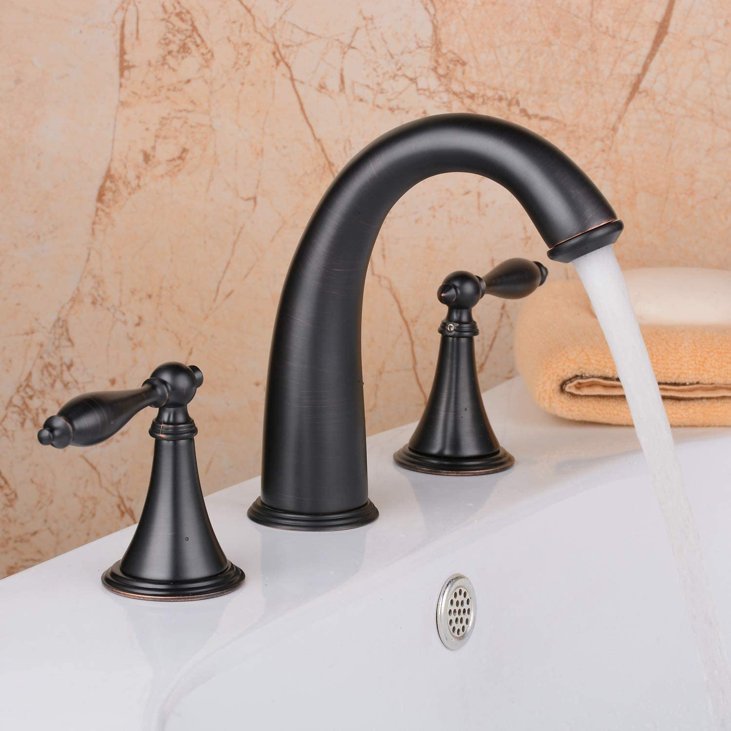 Bathroom Sink Faucet,Solid Brass 2 Handles 3 Holes Widespread Bathroom Faucet Without Pop Up Drain,Black