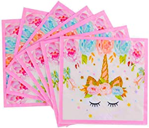 Unicorn Beverage Lunch Napkins - FZR Legend Sparkle Unicorn Themed Party Supplies   6.7 x 6.7 Inches Folded   Unicorn Birthday Party Decorations for Girls and Baby Shower - Gold Pink (100 ct)