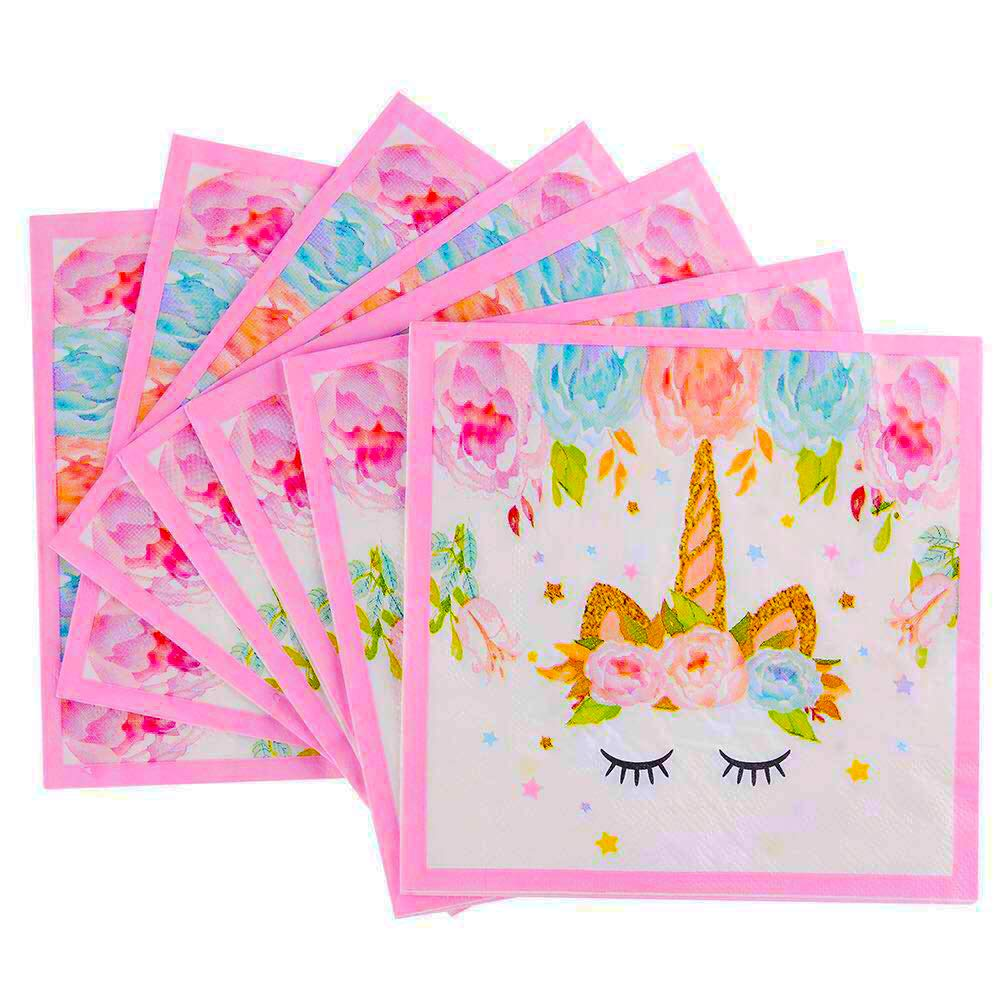 Unicorn Beverage Lunch Napkins - FZR Legend Sparkle Unicorn Themed Party Supplies | 6.7 x 6.7 Inches Folded, Disposable | Unicorn Birthday Party Decorations for Girls and Baby Shower - Gold Pink ( 100 ct ) by FZR Legend