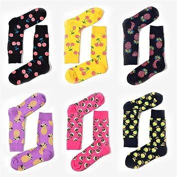HAPPYWINTER 6 Pares de Calcetines para Hombre Calcetines de Fruta creativos Piña Color limón Personalidad Calcetines de Marea Casual Calcetines de Skate ...