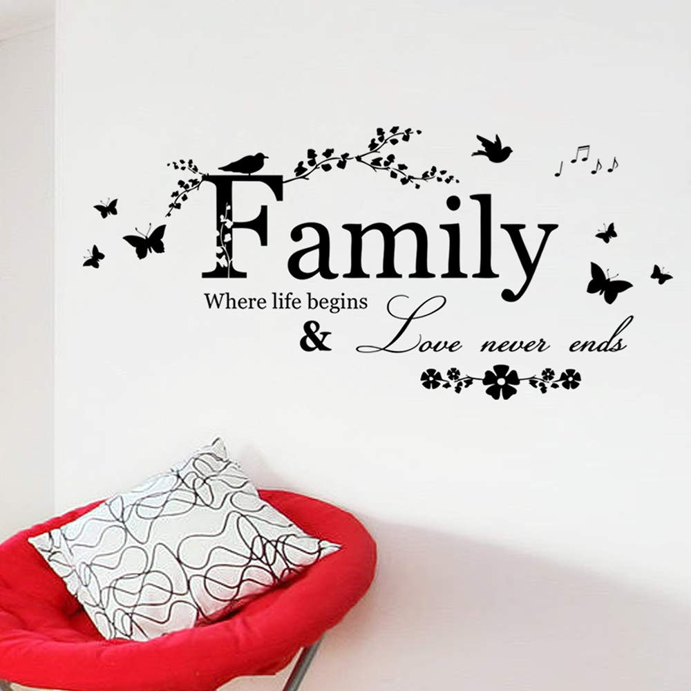 Potelin Wall Decor Stickers Quotes Love Never Ends Flower Family Quote Wall Stickers Vinyl Decals by Potelin (Image #2)