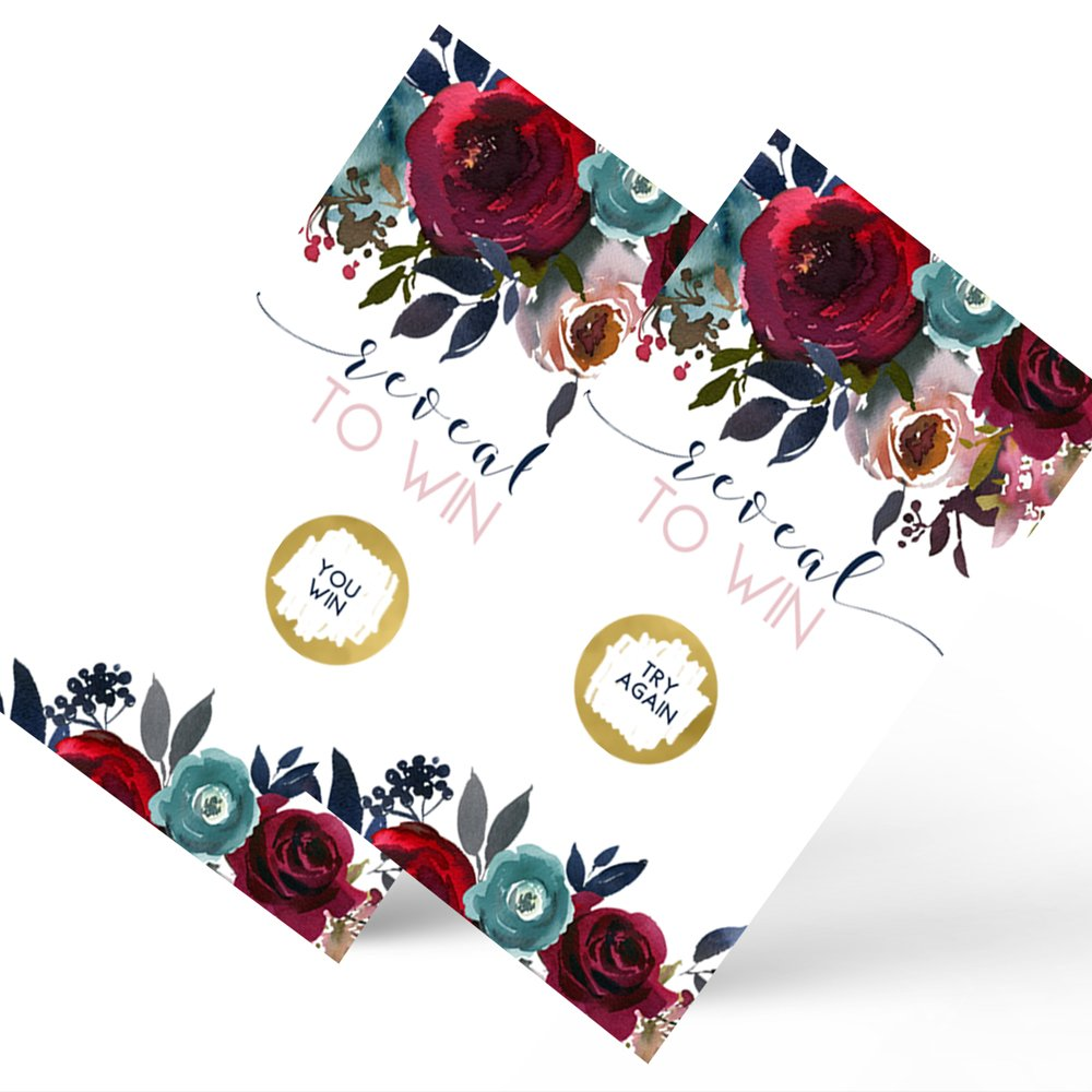 Paper Clever Party Navy Floral Scratch Off Game Cards Set of 28