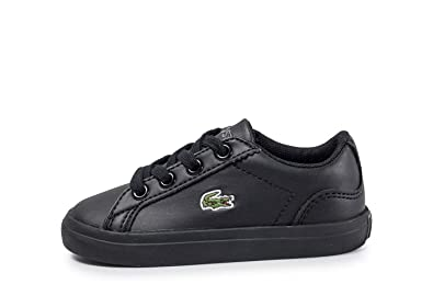 7c569ebe9 Lacoste Lerond 317 Infant Kids Unisex Trainer Shoe Black Mono - UK 6