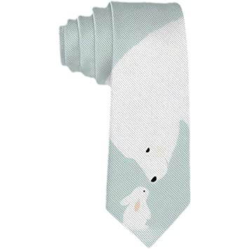 Corbata para hombre Oso blanco y conejos en nieve Corbata de seda ...