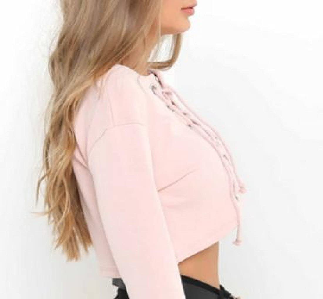 Honey GD Womens Bandage Solid Long Sleeve Slim Fit Sweatshirts Crop Top
