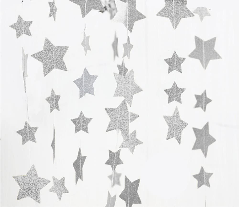 Fecedy Sparkling Star Garland Bunting for Birthday Wedding Engagement Bridal Shower Baby Shower Bachelorette Holiday Celebration Party Decorations 13 feet (Silver)