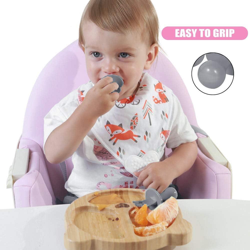 Couverts enfant kit,Couverts Ergonomiques pour b/éb/é,Ensembles de couverts b/éb/é formation cuill/ères dapprentissage et fourchette Gris