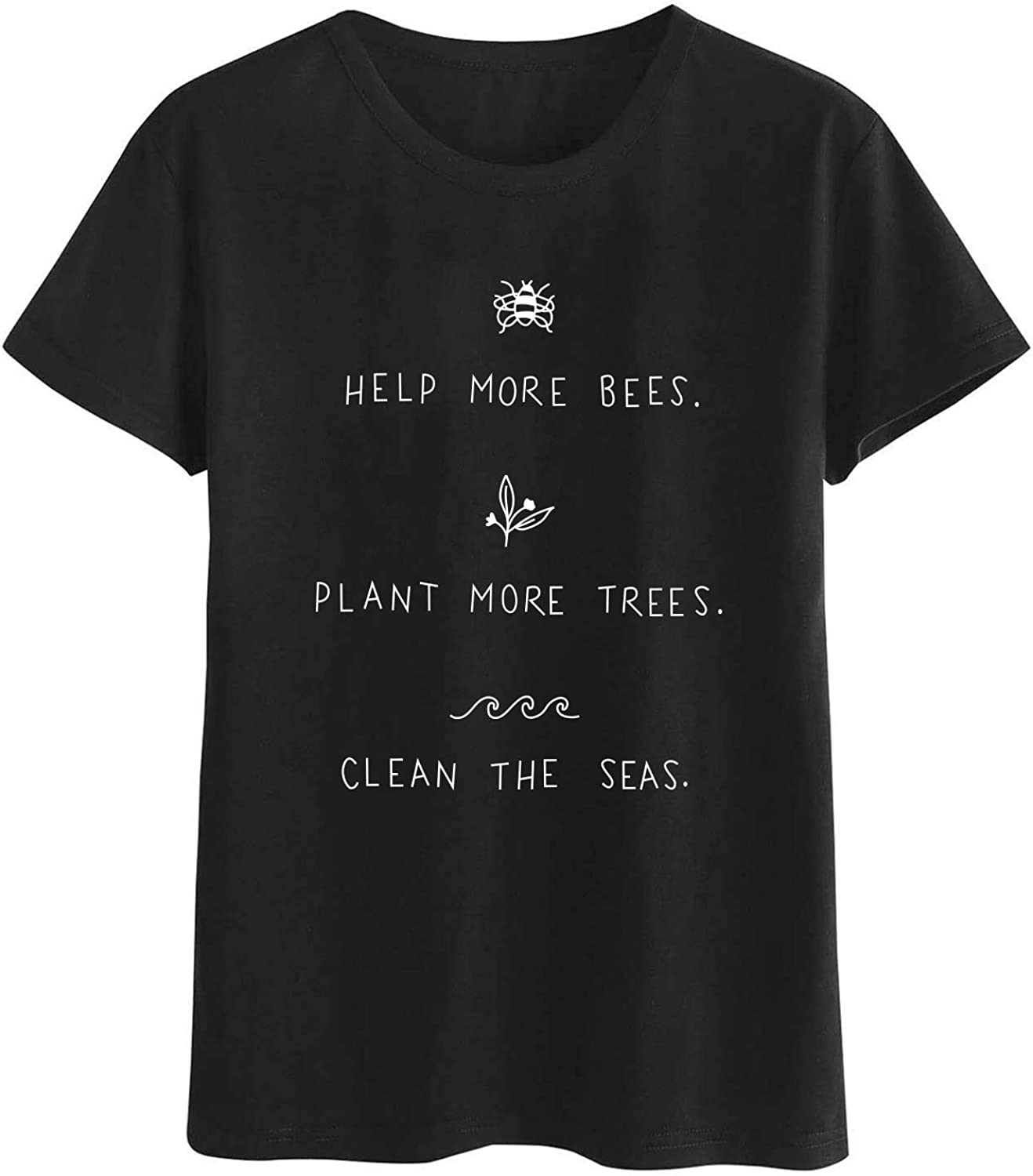 Rocksir Plant These Save The Bees Theme Womens Graphic Tee Girls Cute Gold Yellow T-Shirts…
