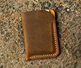 Minimalist leather credit card sleeve holder / personalized slim leather business card case wallet Gift wrap CH056V