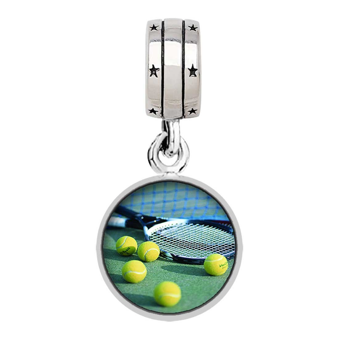 GiftJewelryShop Olympics Tennis Balls and Racket on Court with God All Things are Possible Religious Dangle Charm