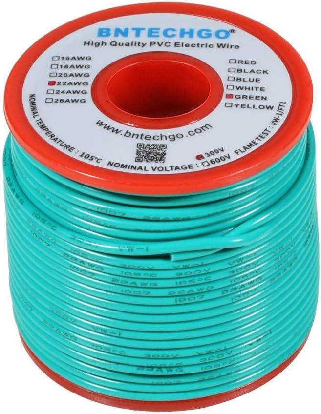 calibre 24 cable trenzado de 300 V 1007 PVC Cable el/éctrico BNTECHGO 24 AWG 1007 alambre de cobre esta/ñado verde de 100 pies por carrete para bricolaje