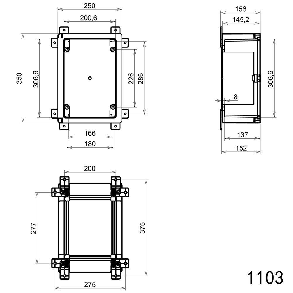 Schaltschrank IP65 Industriegehäuse 250 x 350 x 150 mm verzinkter ...