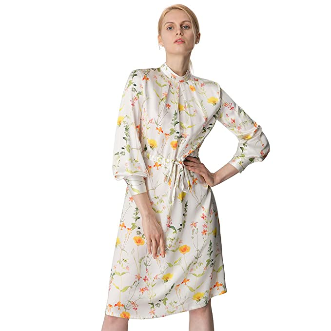 b932b1bb9109 LILYSILK Ladies Elegant Silk Dress Long Sleeve Silk Floral Dress: Amazon.co. uk: Clothing
