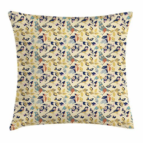 Lunarable Birds Throw Pillow Cushion Cover, Applique Inspired Foliage Leaves and Bird Silhouettes Traditional European Influences, Decorative Square Accent Pillow Case, 16 X 16 Inches, Multicolor