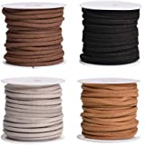 SUPVOX 4PCS 5M Flat Leather Lace Beading Thread Faux Suede Cord String for Bracelet Necklace DIY Beading Jewelry Making Arts Crafts (Dark Coffee, Black, Light and Grey)