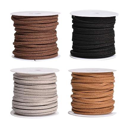 7afb57644a04 SUPVOX 4PCS 5M Hilo de abalorios de cordón de cuero plano Cuerda de cordón  de gamuza sintética para el collar de la pulsera Joyas de abalorios de ...