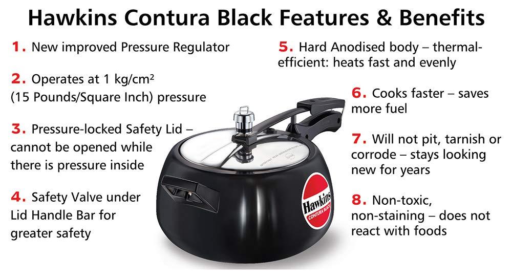 Hawkins CB30 Hard Anodised Pressure Cooker Contura Black 3-Liter