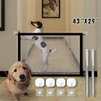 [Updated Version] TOLBEST Magic Gate, Pet Safety Enclosure, Foldable Portable Safe Guard, Baby Mesh Fence Install Anywhere Pet Mesh Gate for Kitchen, Hall, Doorway, Stairs (Small)