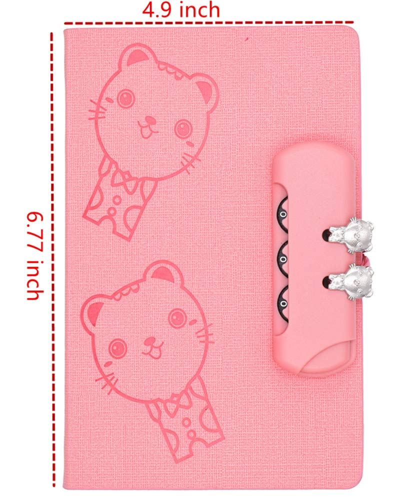 JunShop Creative Password Locking Of the Student Diary Notebook Creative Cute Fine,150 Pages Pink