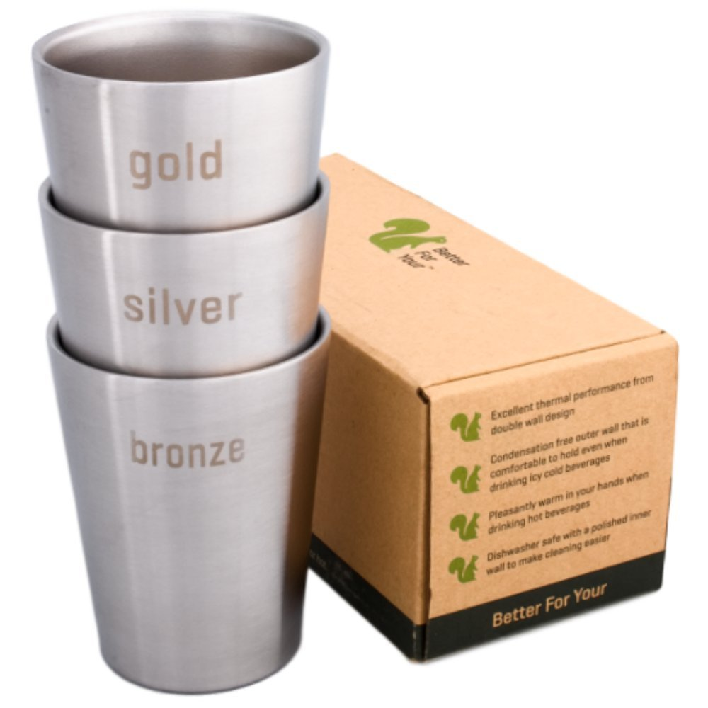 Better For Your Stainlesss Steel Cups Double Wall Small Tumbler - 8oz (250ml) - Set of 3, Literal Colors - Gold - Silver - Bronze