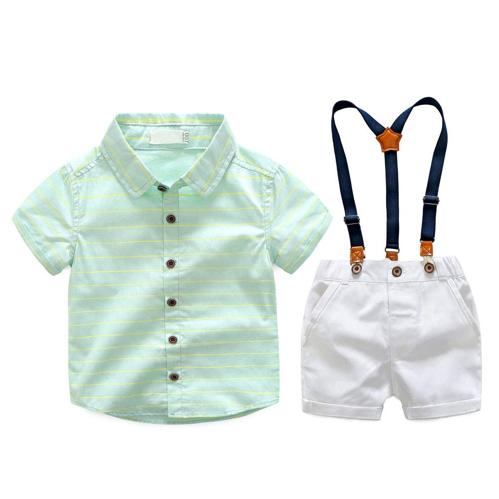 YUN HAO Toddler Boys Summer Short Sleeve Overalls 2Pcs Outfit Set