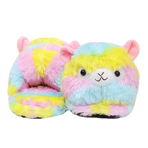 Amazon Com Rainbow Fluffy Alpaca Stuffed Animal Slippers Cute