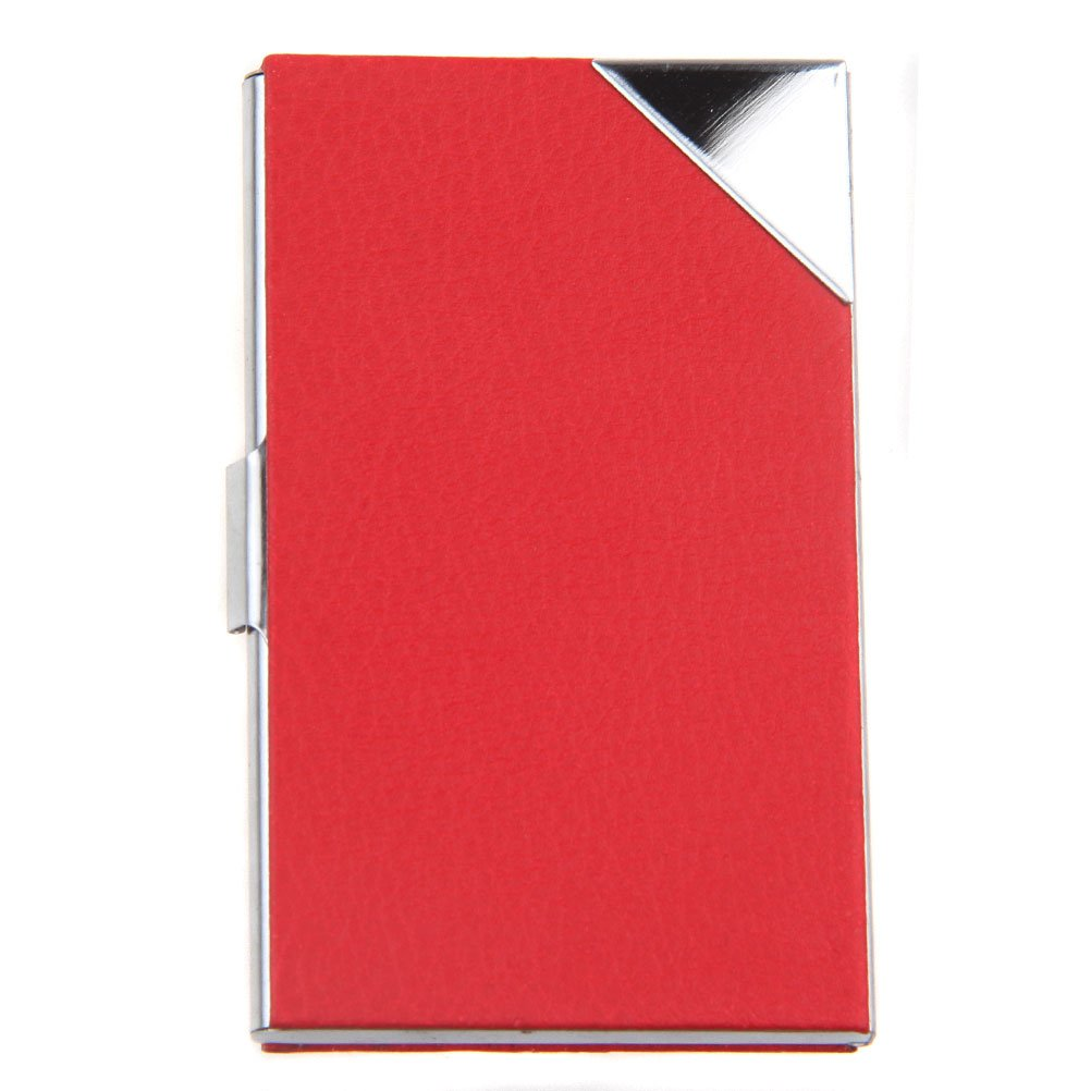 ECOSCO Womens PU Leather Stainless Steel Slim Professional Business Cards Holder Case Assorts