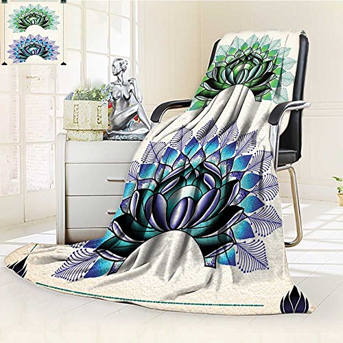 AmaPark Digital Printing Blanket Art Lotus Dot Work Motifs Yoga Meditation Life East Green Summer Quilt Comforter by AmaPark
